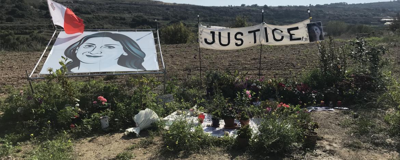 Bild på minnesplats av mordet på Daphne Caruana Galizia
