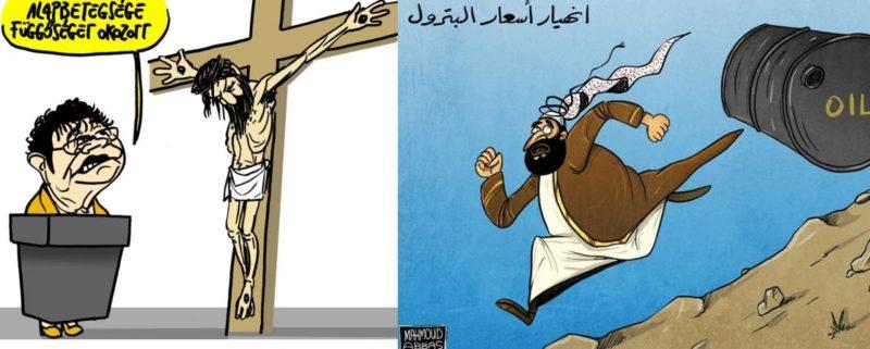 Två karikatyrteckningar